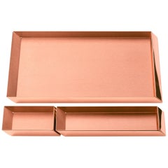 Set of 3, Ghidini 1961 Axonometry Trays in Copper by Elisa Giovanni