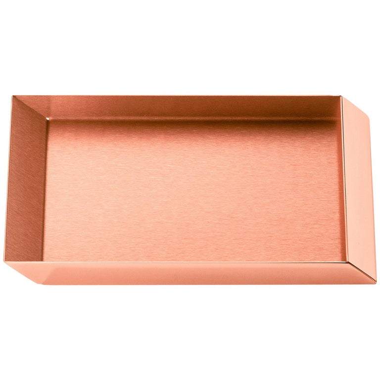 Ghidini 1961 Axonometry Small Rectangular Tray in Copper by Elisa Giovanni For Sale