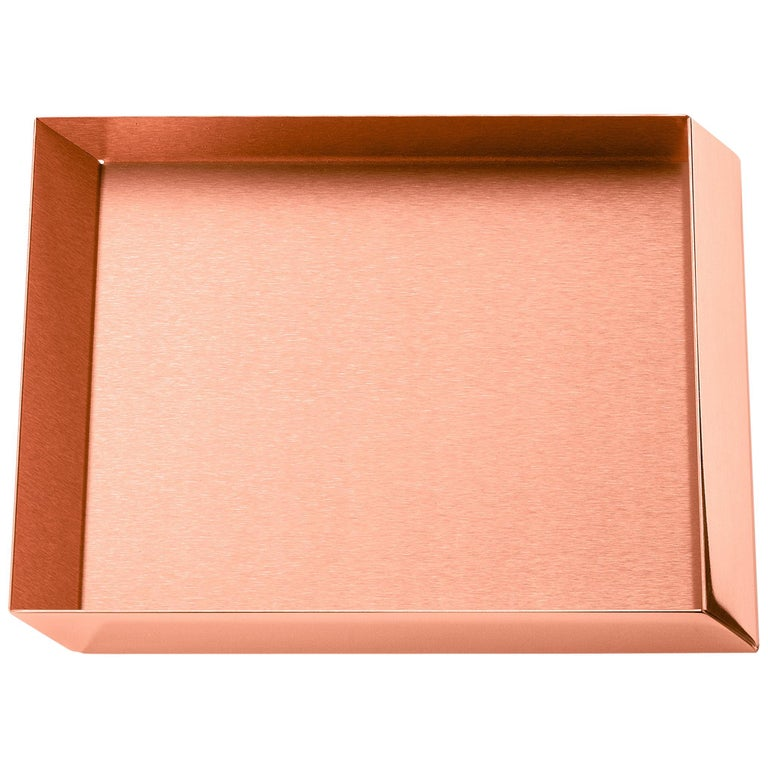Ghidini 1961 Axonometry Small Squared Tray in Copper by Elisa Giovanni For Sale