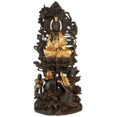 Bronze and Parcel Gilded Gold Quan Yin or Buddha