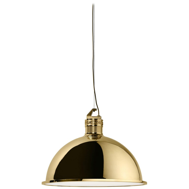 Ghidini 1961 Factory Small Suspension Light in Brass by Elisa Giovanni For Sale