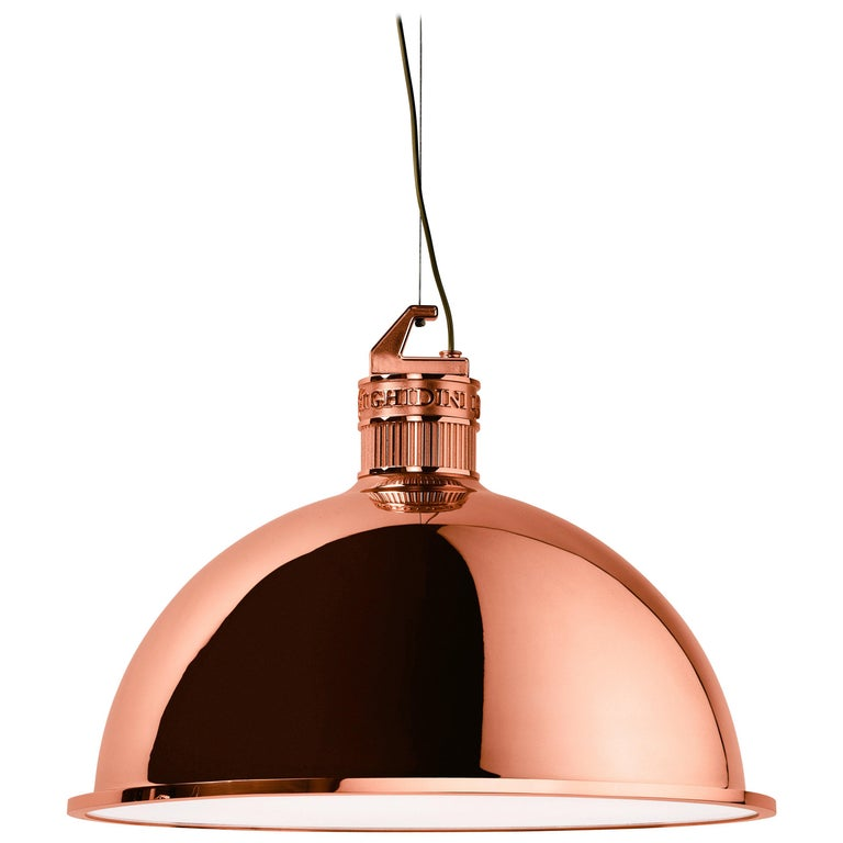 Ghidini 1961 Factory Large Suspension Light in Copper by Elisa Giovanni For Sale