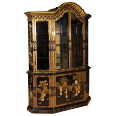 20th Century Black Lacquered And Painted Chinoiserie Wood French Display Cabinet