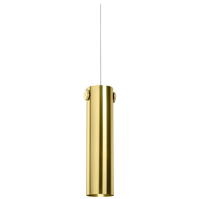 Ghidini 1961 Indi Cylinder Pendant in Brass by Richard Hutten For Sale