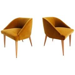Gold Velvet Small Armchairs