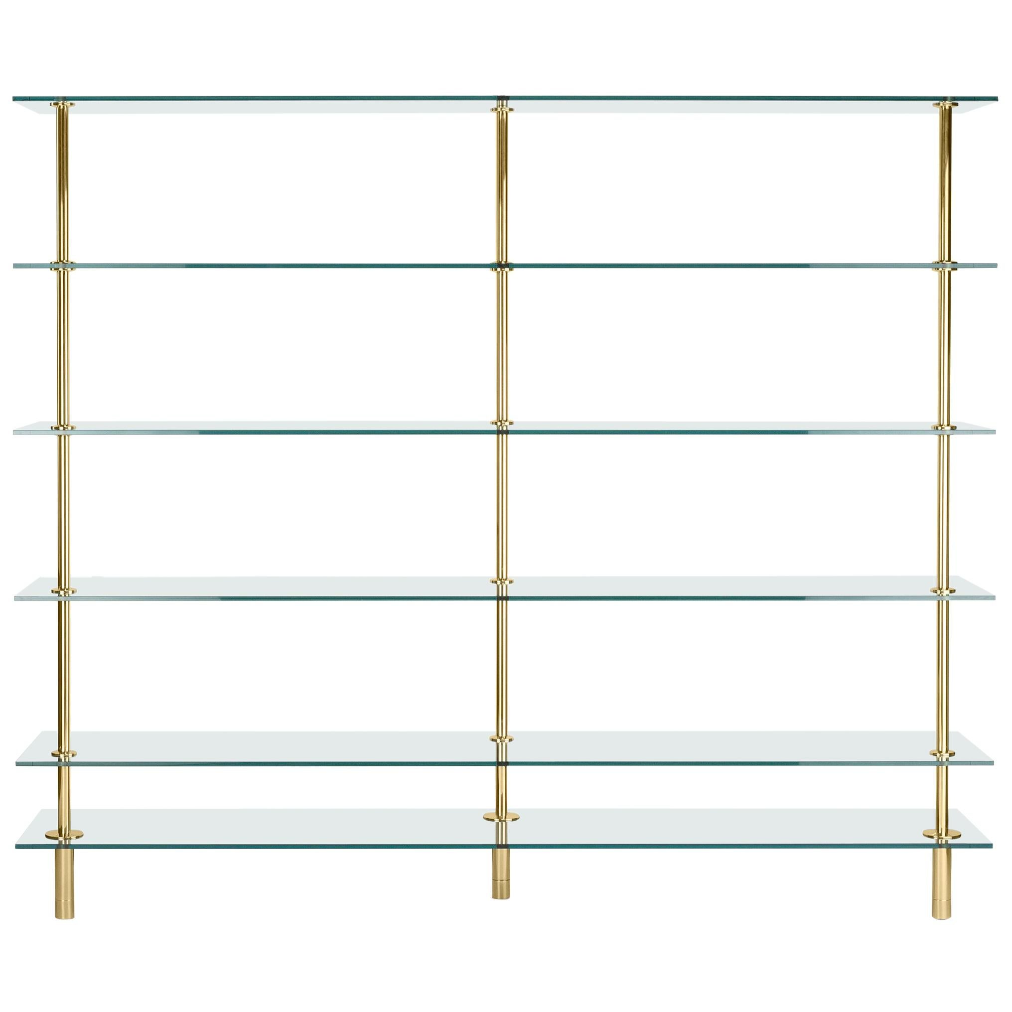 Ghidini 1961 Legs Bookshelves in Crystal and Brass by Paolo Rizzatto