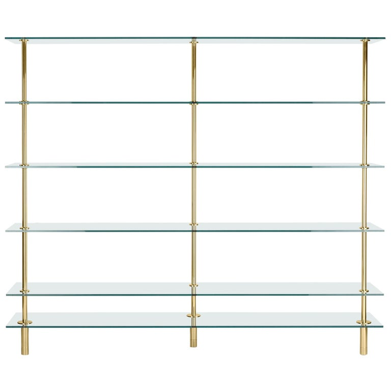 Ghidini 1961 Legs Bookshelves in Crystal and Brass by Paolo Rizzatto For Sale