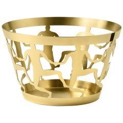 Ghidini 1961 Cestino 1 Medium Bowl in Polished Brass by Andrea Branzi