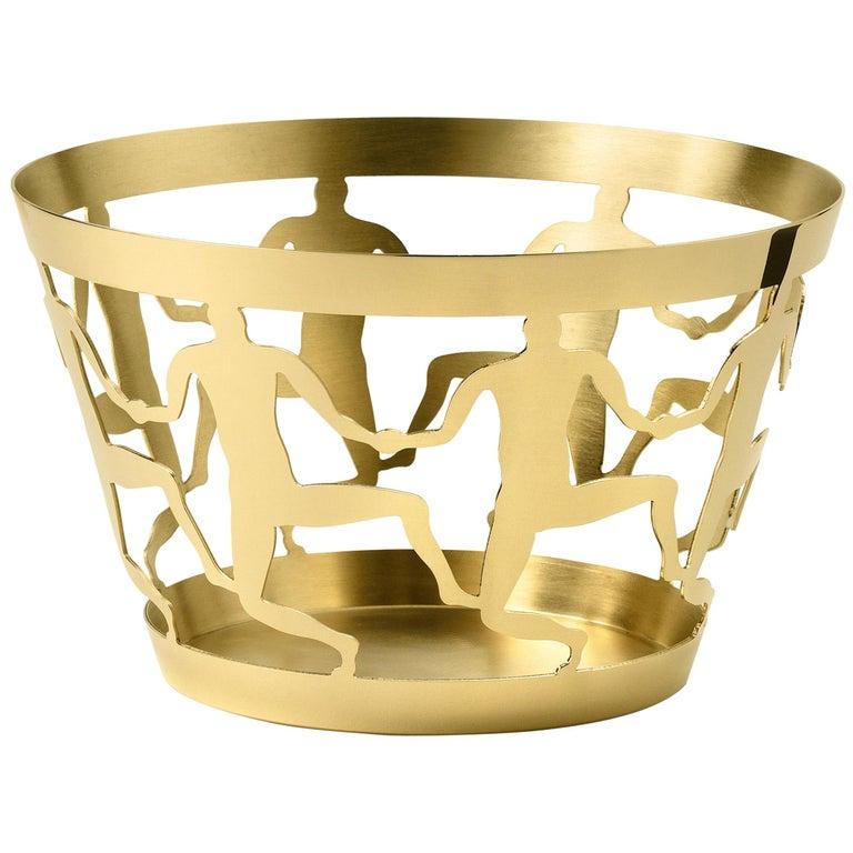 Ghidini 1961 Cestino 1 Medium Bowl in Polished Brass by Andrea Branzi For Sale