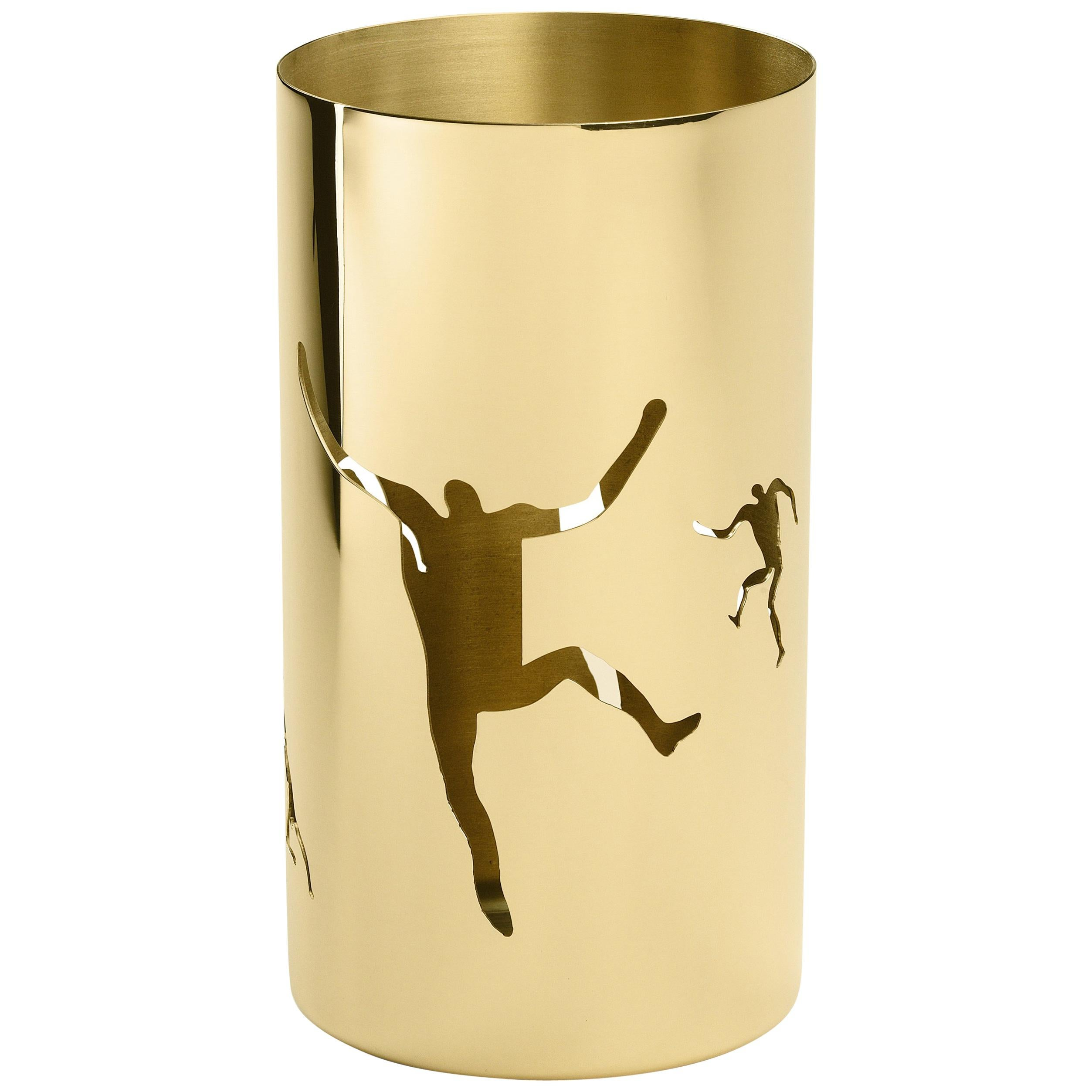 Ghidini 1961 Cestino 3 Cylinder Bowl in Polished Brass by Andrea Branzi