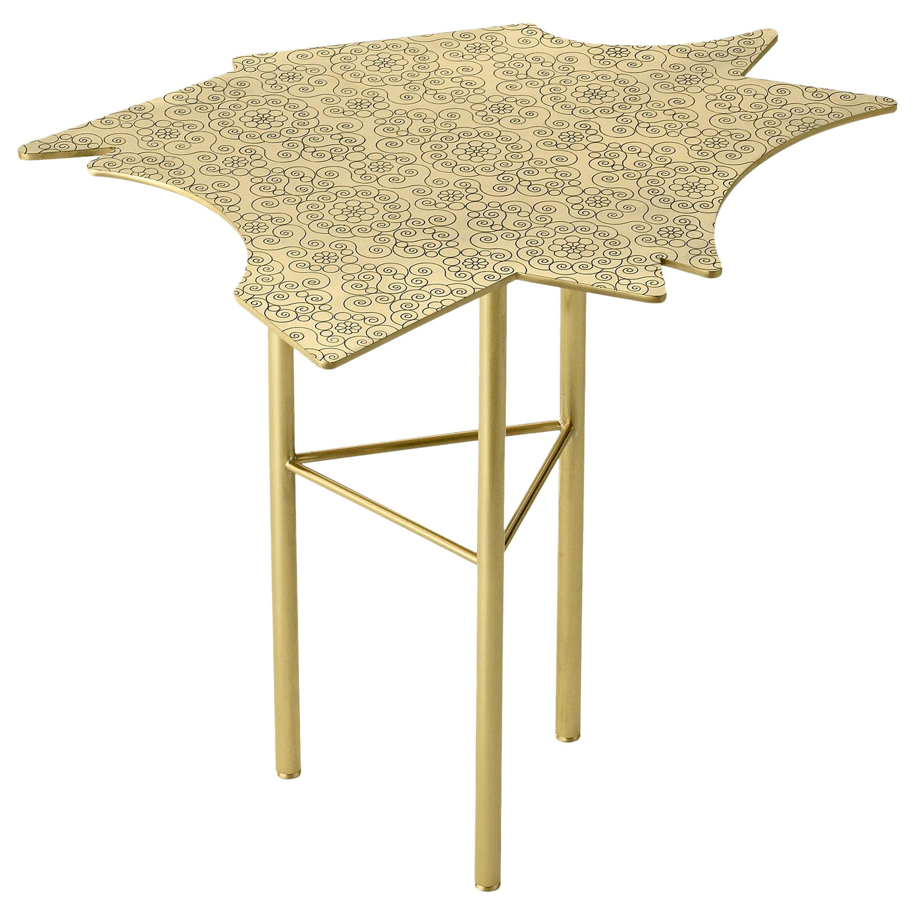 Ghidini 1961 Le Ninfee Middle Side Table in Brass by Alessandro Mendini