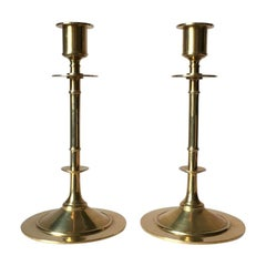 Set of Two Vintage Brass Candleholders from Grillby Metallfabrik