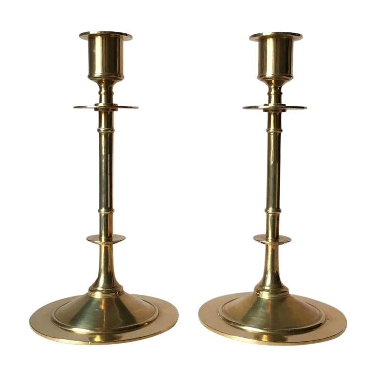 Set of Two Vintage Brass Candleholders from Grillby Metallfabrik For Sale