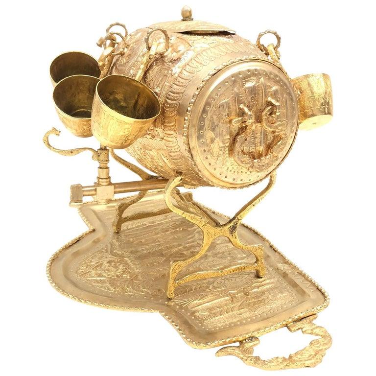 Brass Barrel on Stand, Serving Tray Beverage Drink Cup Set Vintage For Sale