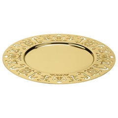 Ghidini 1961 Perished Round Tray in Gold-Plated Stainless Steel by Studio Job