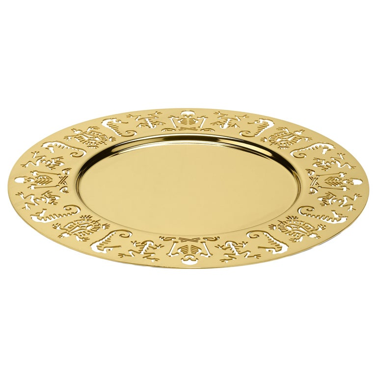 Ghidini 1961 Perished Round Tray in Gold-Plated Stainless Steel by Studio Job For Sale
