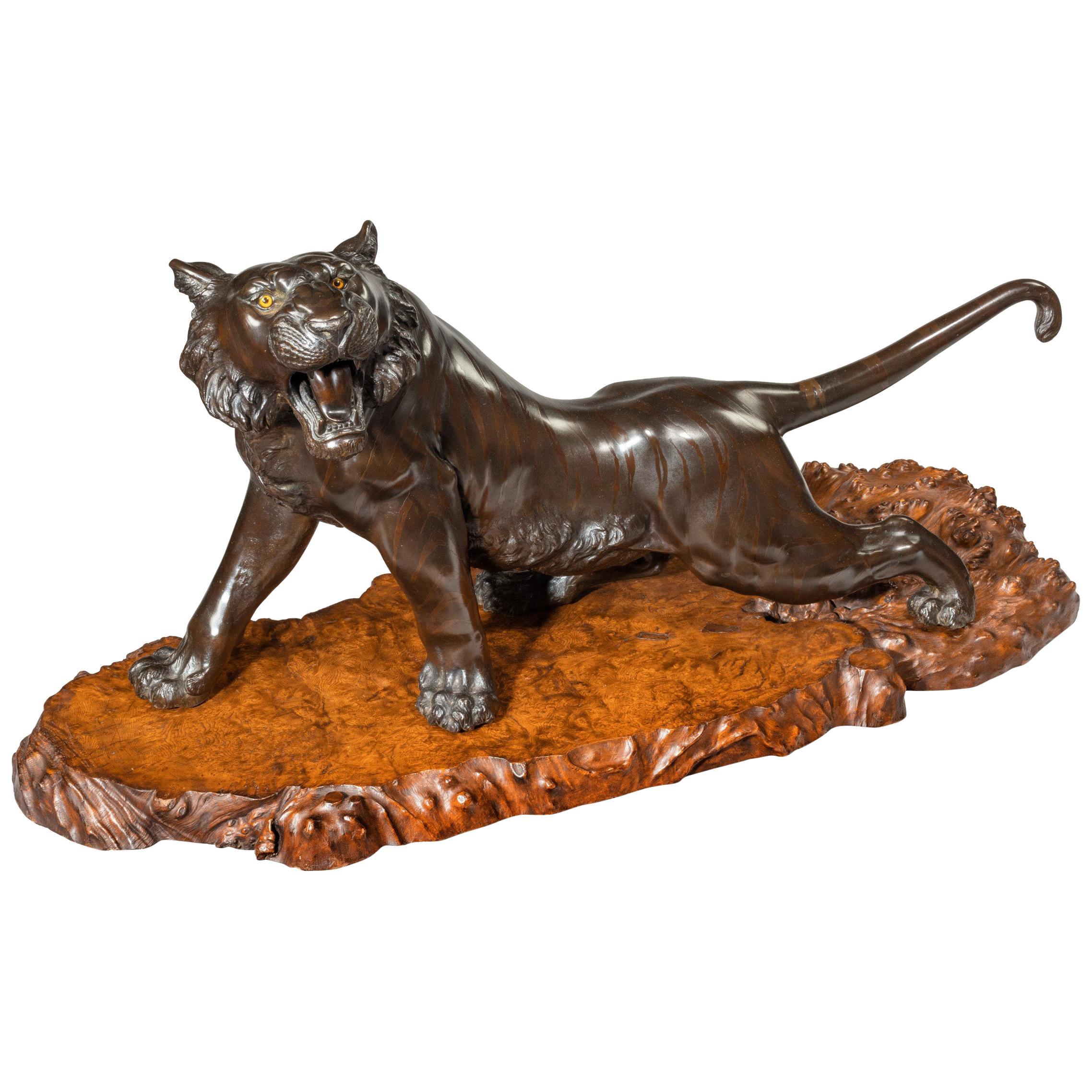 Large Meiji Period Bronze Tiger by Genryusai Seiya