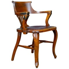Antique Elbow Chair English Oak Leather Office Desk Captains, Study, circa 1910