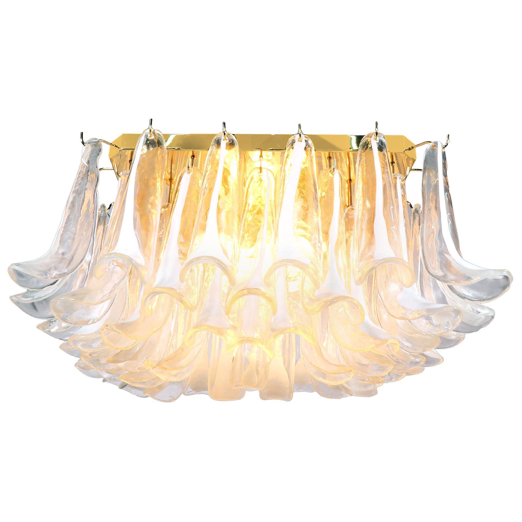1970 Italy Mazzega Flush Mount Ceiling Light Murano Glass Petals & Gilt-Brass
