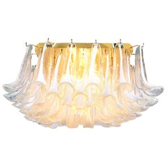 1970 Italy Mazzega Flush Mount Ceiling Light Murano Glass Petals & Gilt-Brass