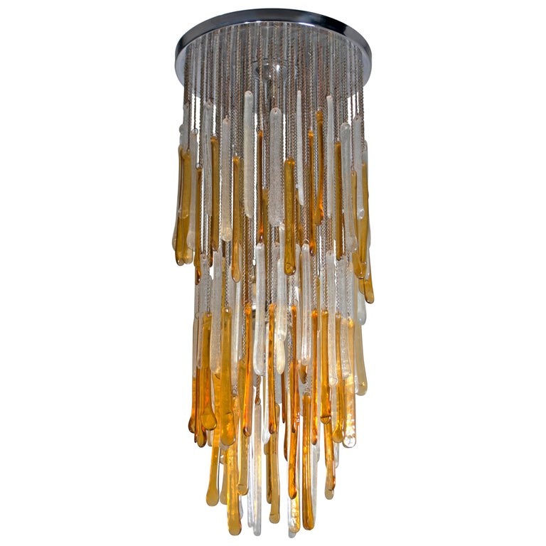 "Mazzega Mid-Century Modern ""Pulegoso"" Murano Glass Italian Chandelier, 1960s For Sale"