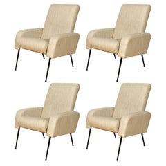 1950s Set of Four Airbone Style Armchairs, Steel, Gray Felt, Strap Seat, France