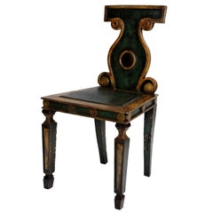 English Late Georgian Painted Hall Chair, circa 1826