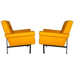 1960s Pair of Cubist Armchairs, Wrought Iron, Yellow Cotton Upholstery, Italy