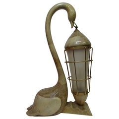 Table lamp depicting a swan in parchment created by Aldo Tura in the midcentury