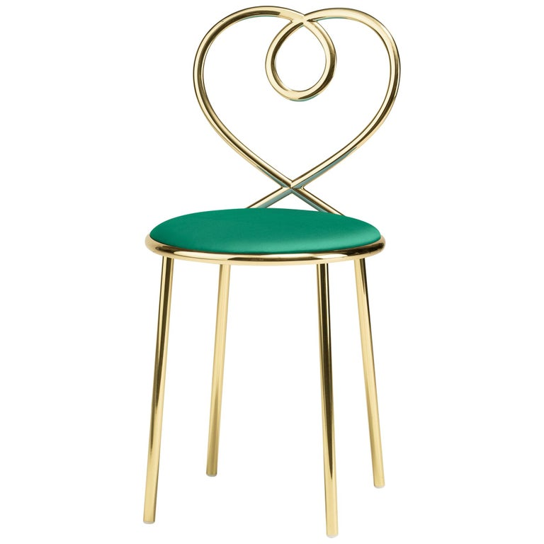 Ghidini 1961 Love Chair Malachite in Polished Brass by Nika Zupanc For Sale