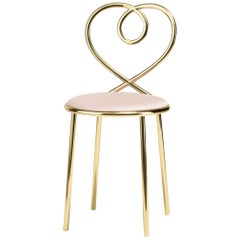 Ghidini 1961 Love Chair Powder Rose in Polished Brass by Nika Zupanc