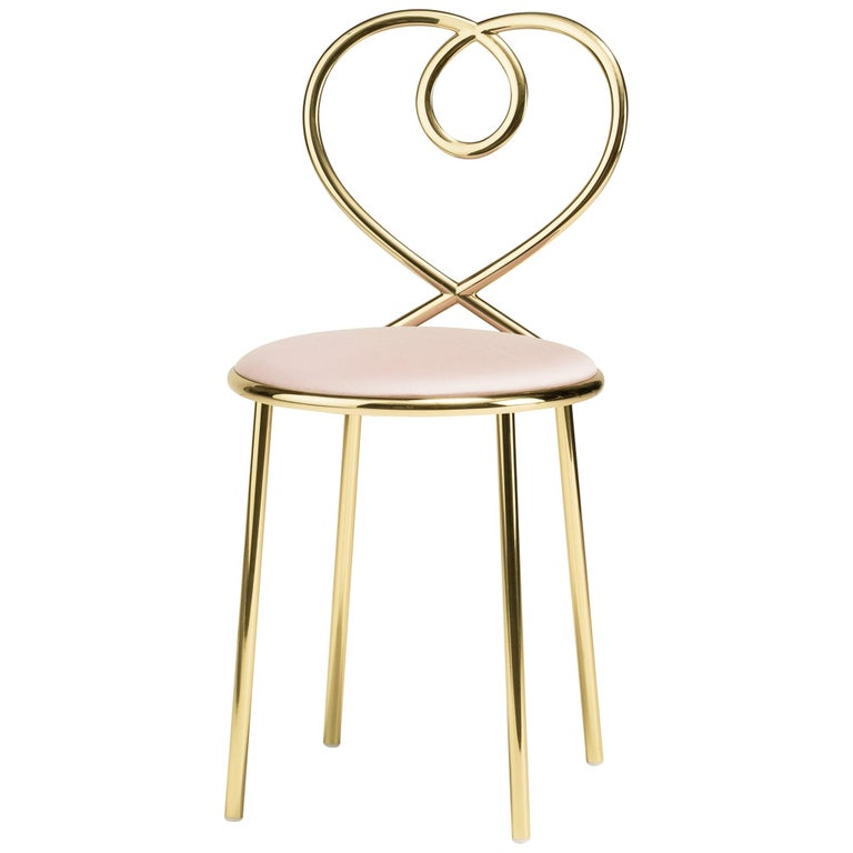 Ghidini 1961 Love Chair Dusty Rose in Polished Brass by Nika Zupanc 1