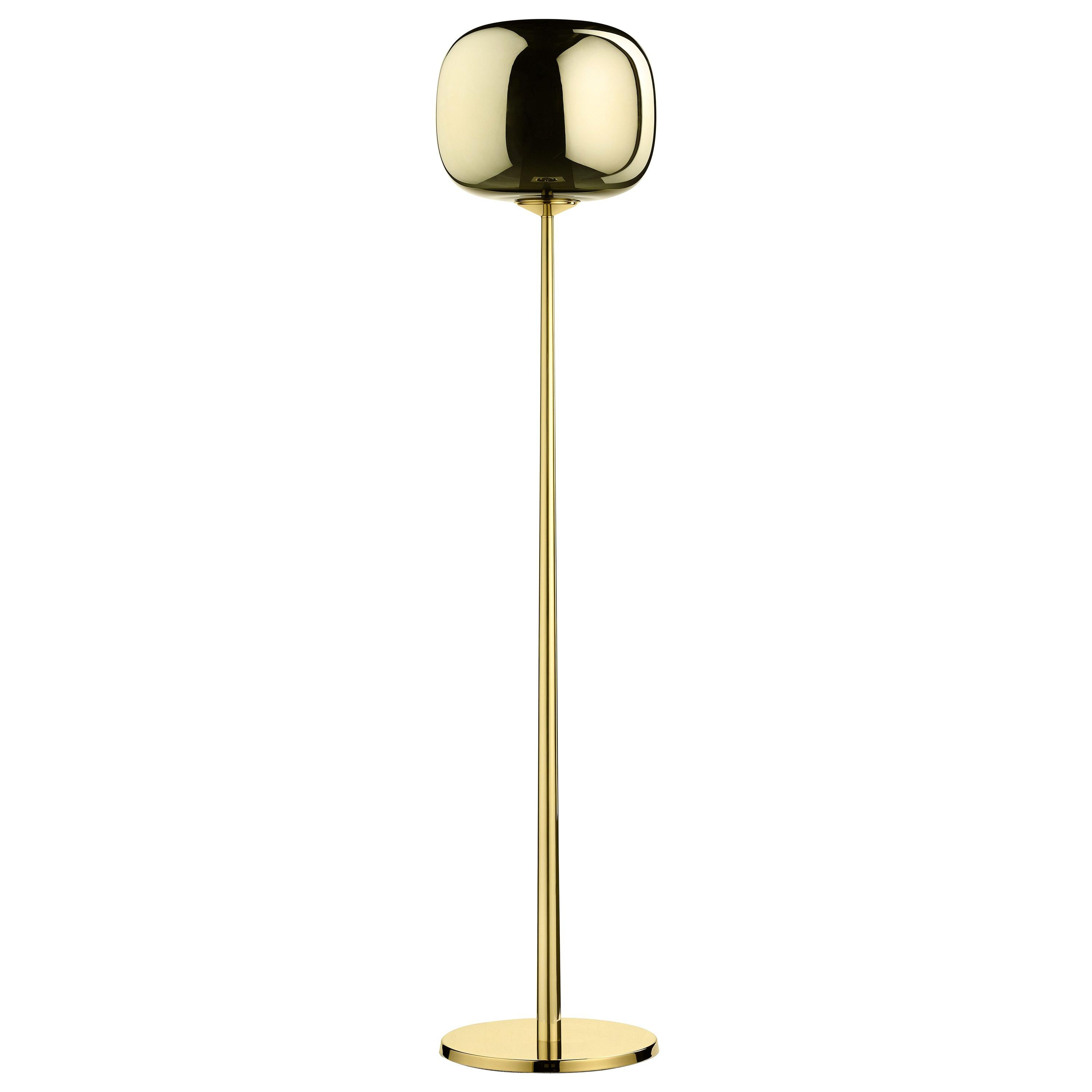 Ghidini 1961 Tall Dusk Dawn Floor Lamp in Brass and Metallic Glass by Branch
