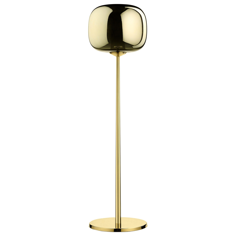 Ghidini 1961 Short Dusk Dawn Floor Lamp in Brass and Metallic Glass by Branch