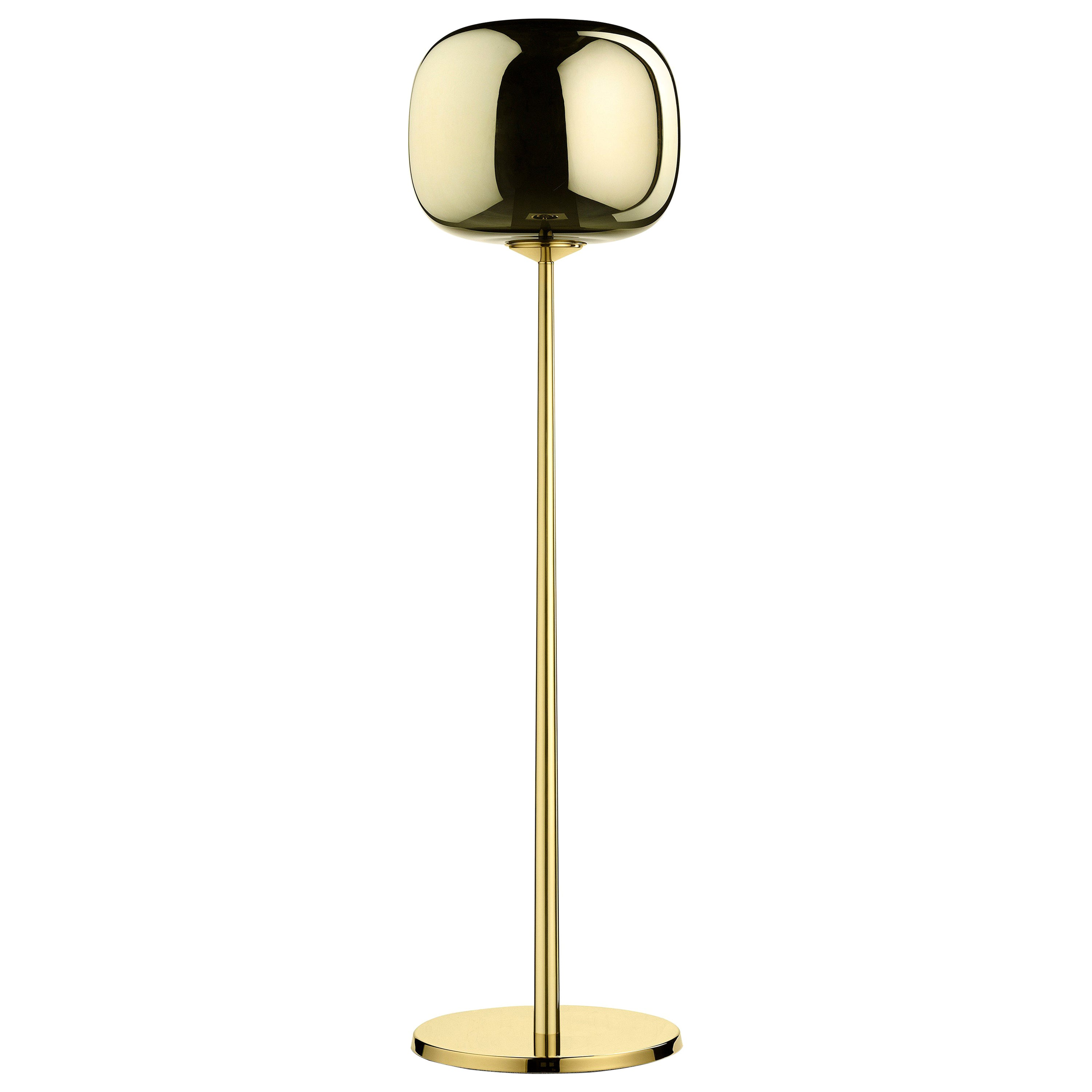 Ghidini 1961 Short Dusk Dawn Floor Lamp in Brass and Metallic Glass by Branch