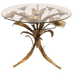 Italian Hollywood Regency Gilt and Silvered Rose Flower Table, 1960s