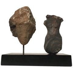 Wendy Hendelman Alabaster Head and Torso Sculpture, 2015