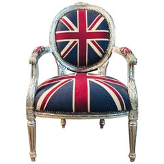 Armchair in Louis Seize Style XVI Silver with GB Flag