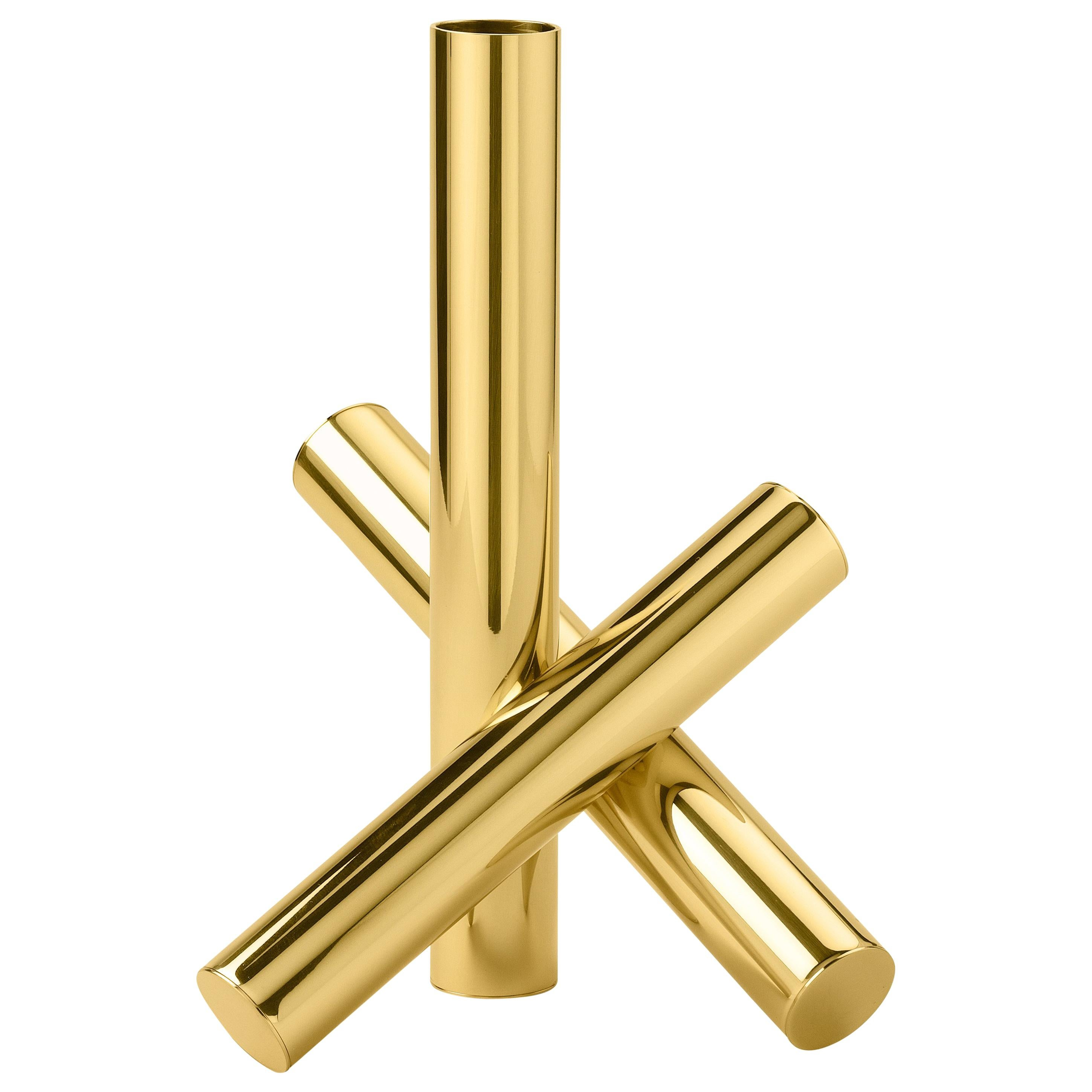 Ghidini 1961 Sticks Candleholder in Polished Brass by Campana Brothers