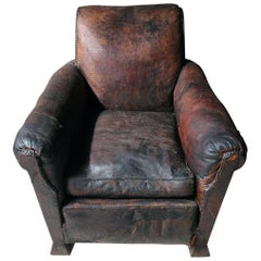 Early 20th Century Leather Club Armchair, circa 1925-1935