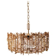 Palwa Gold-Plated Crystal Glass Chandelier, 1960