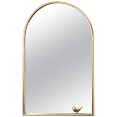 Ghidini 1961 Mirror with Birdie in Brass by Elisa Giovanni