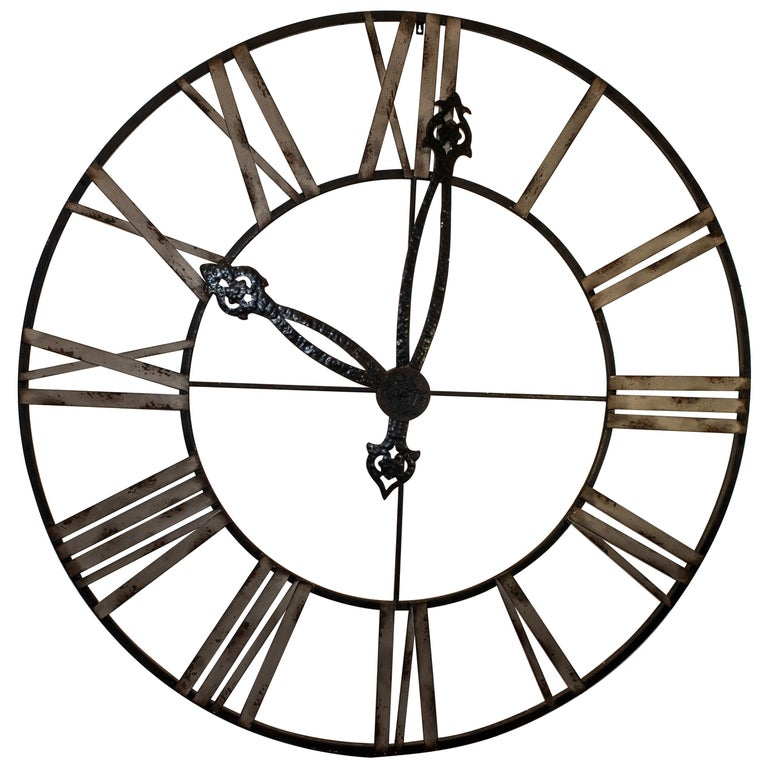 20th Century Black French Skeleton Clock in Aged Forging Iron For Sale