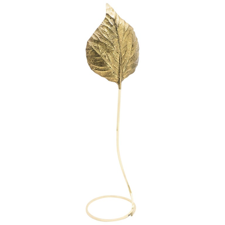 Hollywood Regency Rhubarb Brass Floor Lamp Tommaso Barbi 1970s For Sale