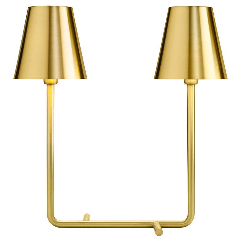 Ghidini 1961 Bio Table Lamp in Satin Brass by Aldo Cibic For Sale