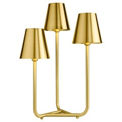 Ghidini 1961 Trio Table Lamp in Satin Brass by Aldo Cibic