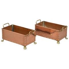 Pair of Decorative Copper Troughs, Planters