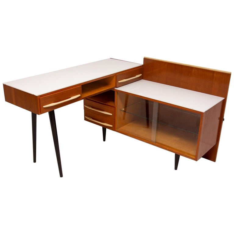 Midcentury Corner Writing Desk With A Small Bookcase Up Závody