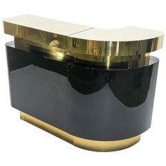 Unique French Hollywood Regency Lacquer Brass Bar Cabinet J.C. Mahey, 1970s