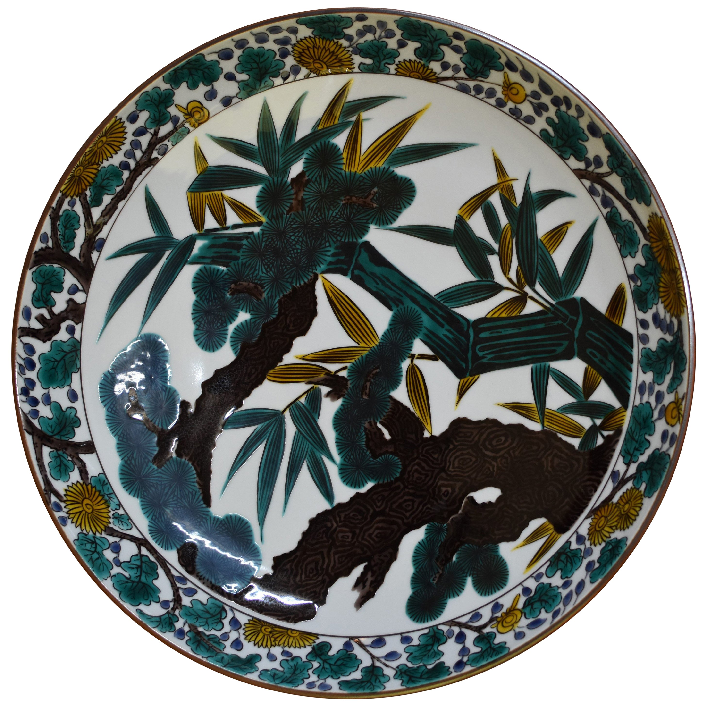 Japanese Green Porcelain Charger by Contemporary Master Artist